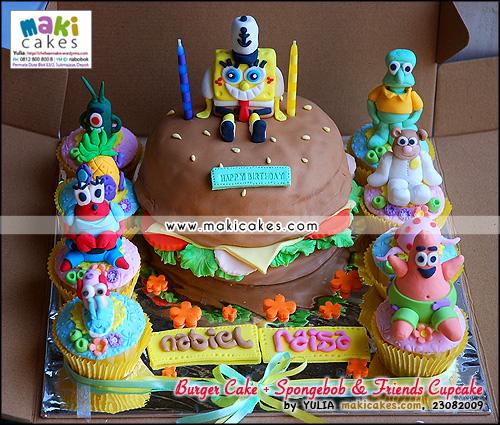 Burger Cake + Spongebob & Friends Cupcakes__ - Maki Cakes