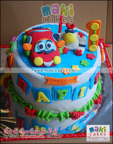 Car & Cow Cake for Rafif - Maki Cakes