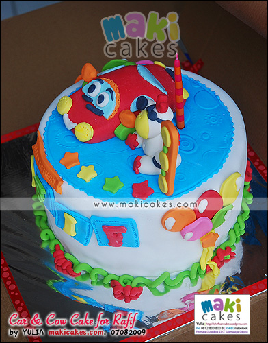 Car & Cow Cake for Rafif_ - Maki Cakes