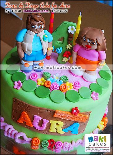 Dora & Diego Cake for Aura - Maki Cakes