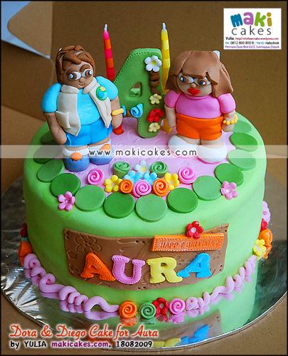 Dora & Diego Cake for Aura_ - Maki Cakes