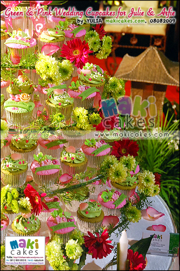 Green & Pink Wedding Cupcakes for Arfie & Julie - Maki Cakes