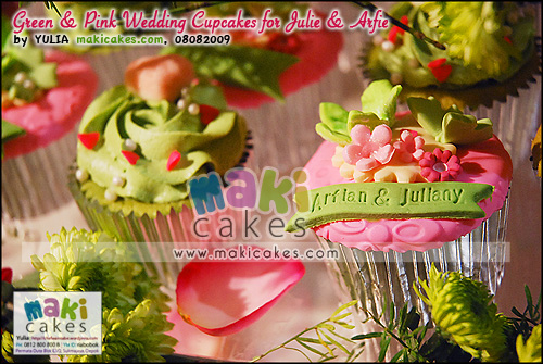 Green & Pink Wedding Cupcakes for Arfie & Julie___ - Maki Cakes