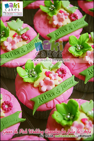 Green & Pink Wedding Cupcakes for Arfie & Julie_____ - Maki Cakes