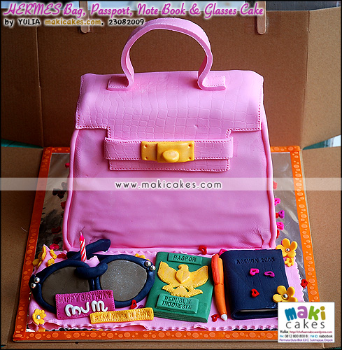 Hermes Bag Passport Note Book & Glasses Cake - Maki Cakes