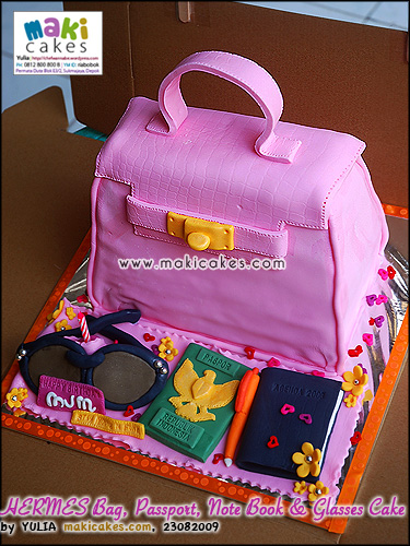 Hermes Bag Passport Note Book & Glasses Cake__ - Maki Cakes