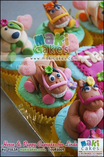 Horse & Puppy Cupcakes for Linda_ - Maki Cakes