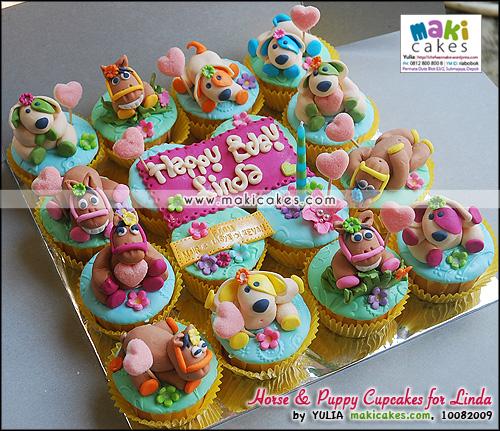 Horse & Puppy Cupcakes for Linda_____ - Maki Cakes