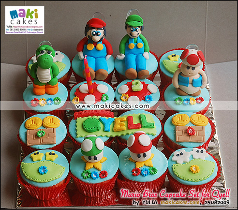 Mario Bros Cupcake Set for Qyell_ - Maki Cakes