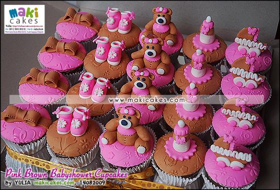 Pink Brown Babyshower Cupcakes - Maki Cakes