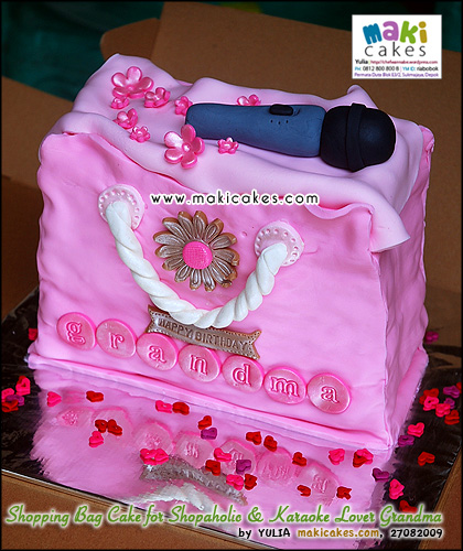 Shopping Bag Cake for Shopaholic & Karaoke Lover Grandma - Maki Cakes