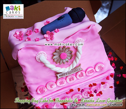 Shopping Bag Cake for Shopaholic & Karaoke Lover Grandma_ - Maki Cakes