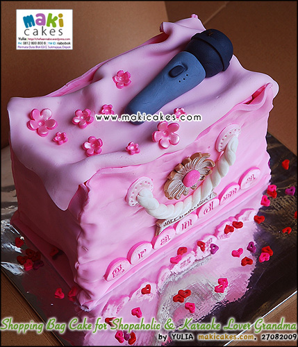 Shopping Bag Cake for Shopaholic & Karaoke Lover Grandma__ - Maki Cakes