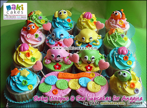 Baby Octopus & Sea Cupcakes for Anggita - Maki Cakes