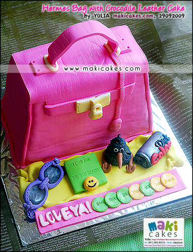 Hermes Bag with Crocodile Leather Cake_ - Maki Cakes