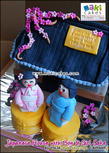 Japanese House with Boy & Girl Cake - Maki Cakes