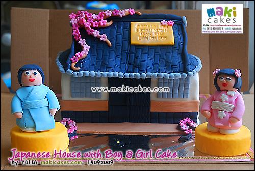 Japanese House with Boy & Girl - Maki Cakes