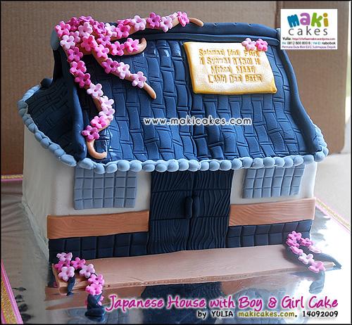 Japanese House with Boy & Girl_ - Maki Cakes