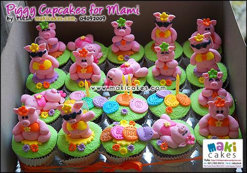 Piggy Cupcakes for Mami - Maki Cakes