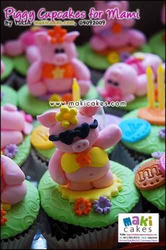 Piggy Cupcakes for Mami__ - Maki Cakes