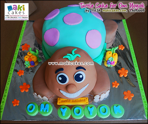 Turtle Cake for Om Yoyok - Maki Cakes